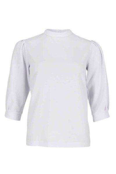 1002 ekru חולצת בייסיק צווארון סיני לבנה