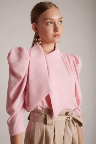 1004 pink חולצת קשירה אלגנטית ורודה