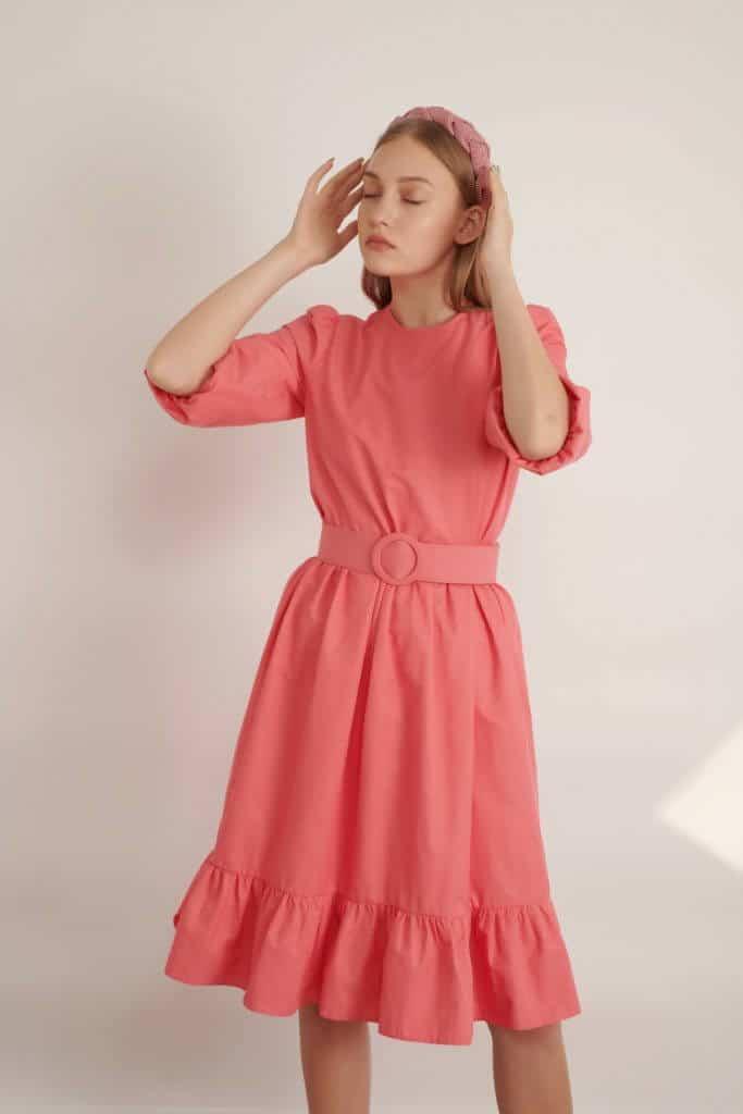 1012 fucksia שמלה ורוד פוקסיה עם חגורת אבזם עגול