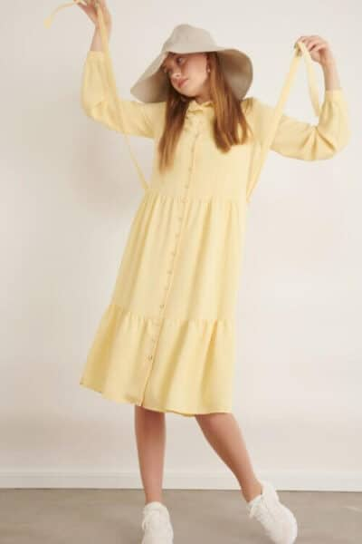 1013 yellow שמלת כפתורים עם צווארון- צהוב