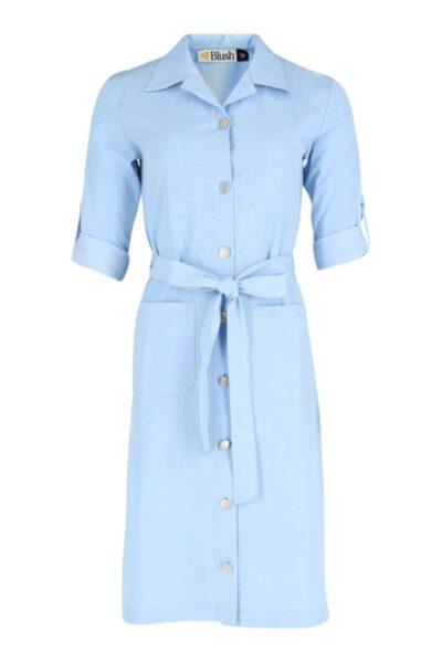 1019 שמלת כיסים דמוי גינס בהיר