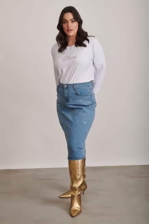 חצאית ג'ינס עם אבנים