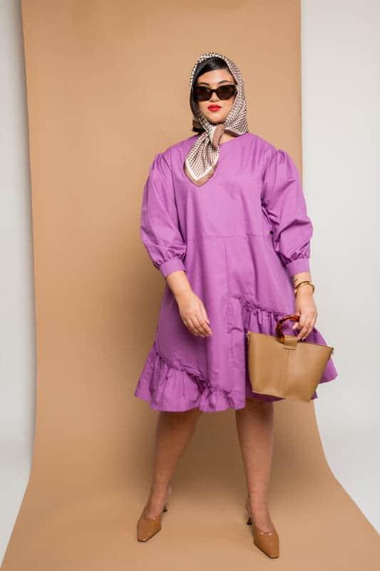 שמלת פופלין סגול