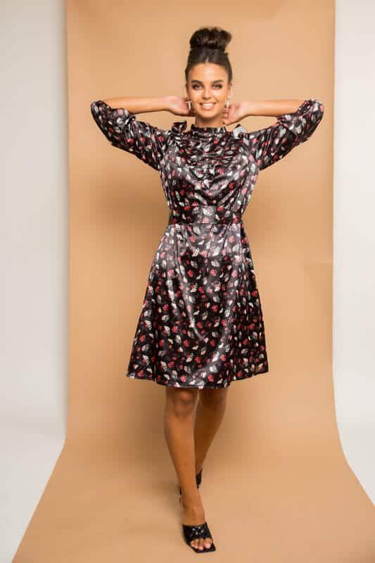 שמלת משי פרחים פפלום