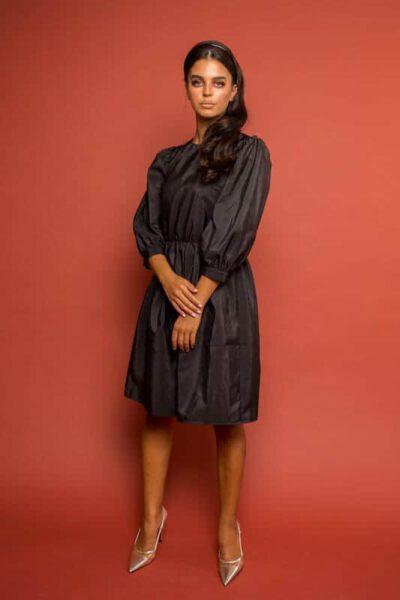 שמלת ערב טפט שחורה יוקרתית