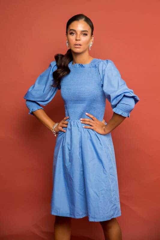 שמלת בכיווץ קרושה - כחולה