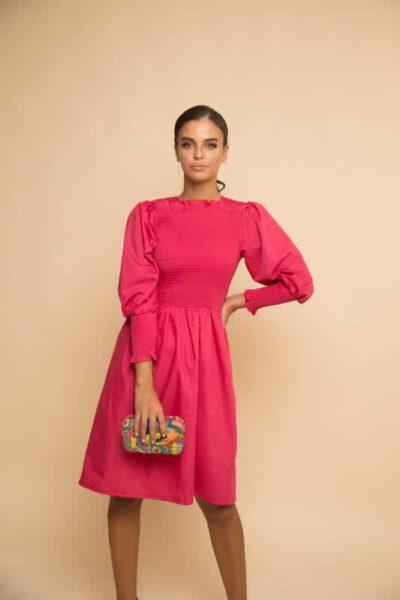 שמלת בכיווץ קרושה - פוקסיה
