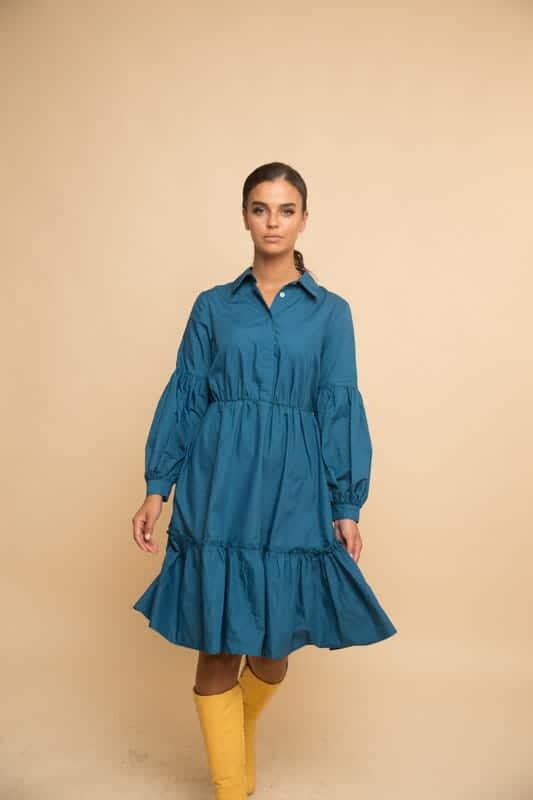 שמלת קומות כיווץ טורקיז פטרול