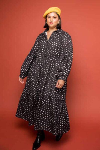שמלת פולקה דוט - מידות גדולות
