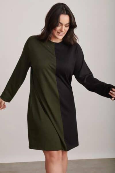 שמלה בגזרה ישרה שחור ירוק 1325