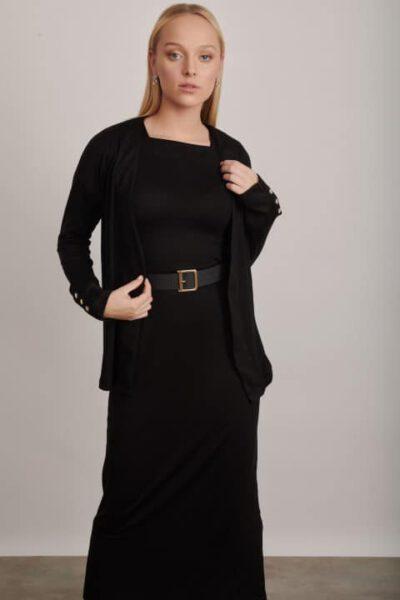 1225 שמלת קרדיגן שחור