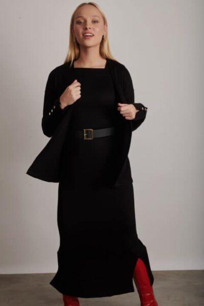 1225 שמלת קרדיגן שחור 0008