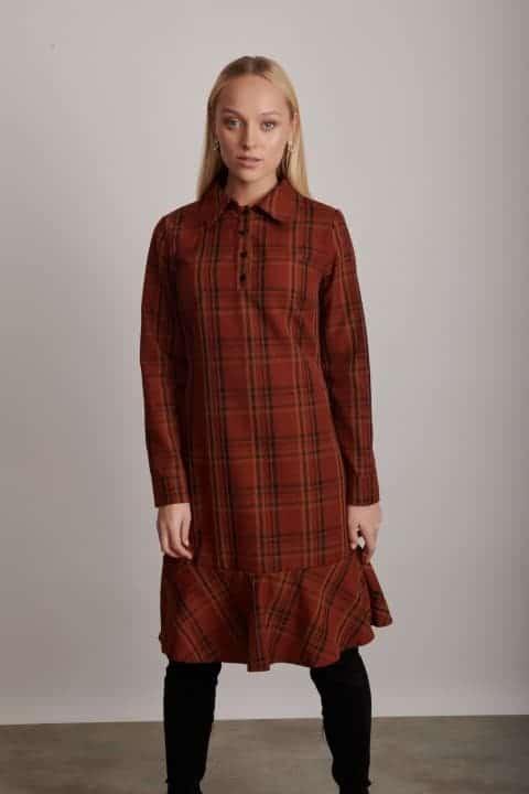 1230 שמלה עם צווארון חמרא חרדל