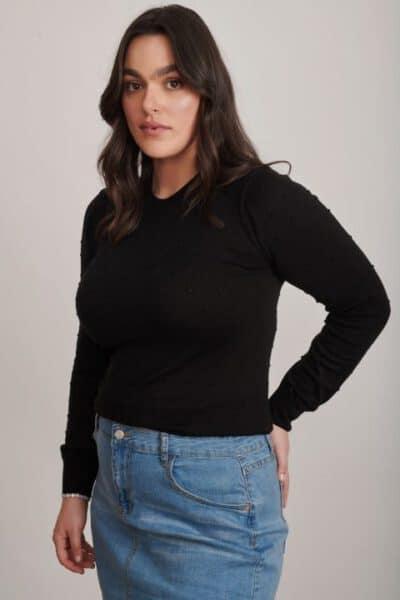 506 חולצת סריג שחור עם נקודות מידות גדולות