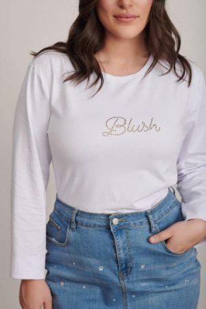 חולצה בלאש לבנה מידות גדולות 1306 004 (Small)