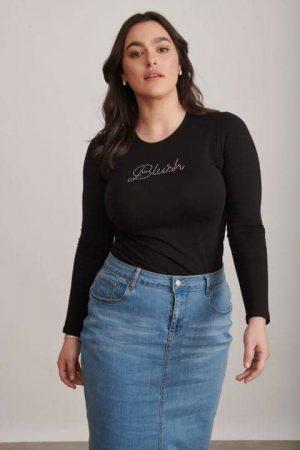 חולצה בלאש שחור מידות גדולות 003 (Small)
