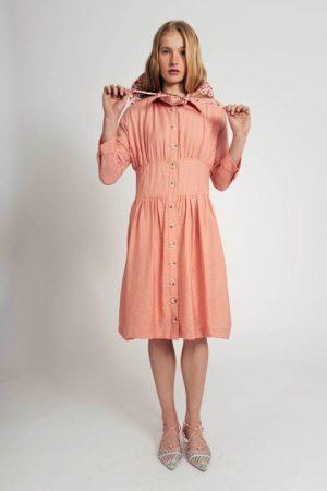 שמלה אפרסק עם חגורה מובנת 001