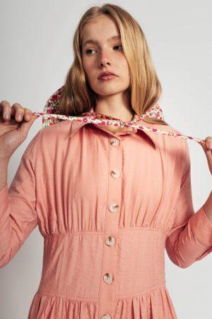 שמלה אפרסק עם חגורה מובנת 018