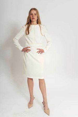שמלה יוקרתית לבנה עם תיפורי זהב 001