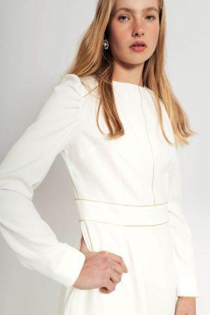 שמלה יוקרתית לבנה עם תיפורי זהב 012