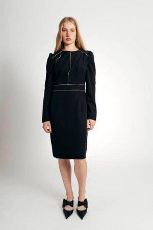 שמלה יוקרתית שחורה עם תיפורי זהב 001