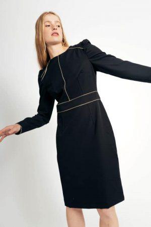 שמלה יוקרתית שחורה עם תיפורי זהב 016