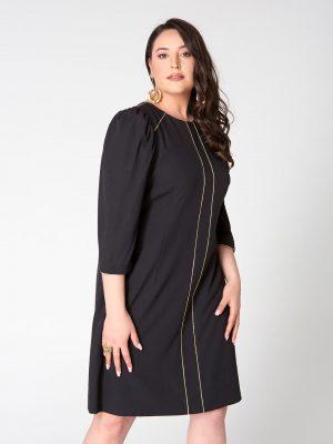 שמלה ישרה עם תיפורי זהב - שחור 001