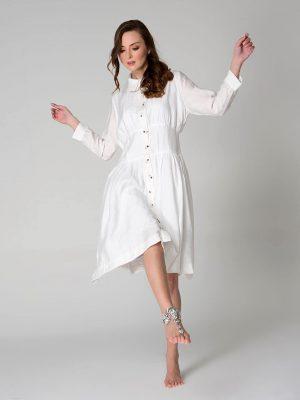 שמלה לבנה עם חגורה מובנת 001