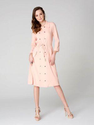 שמלה מחויטת עם שרוך - אפרסק 001
