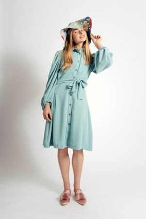 שמלה מנטה עם תיפורים 001