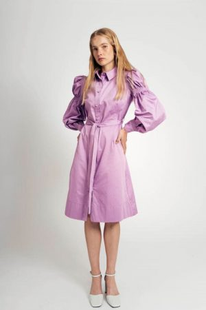 שמלה עם שרוול נפוח - סגול 001