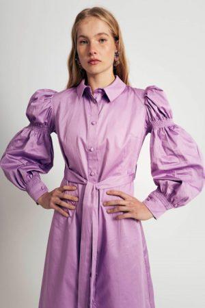 שמלה עם שרוול נפוח - סגול 012