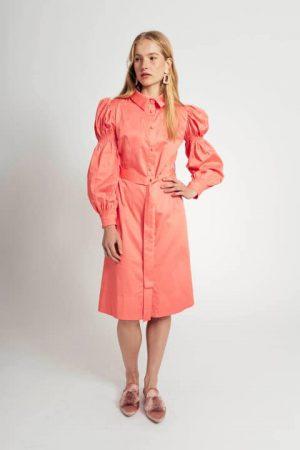 שמלה עם שרוול נפוח - פוקסיה 001