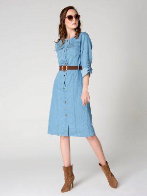 שמלת ג'ינס כיסים - בהיר 001
