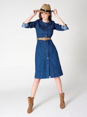שמלת ג'ינס כיסים - כהה 001