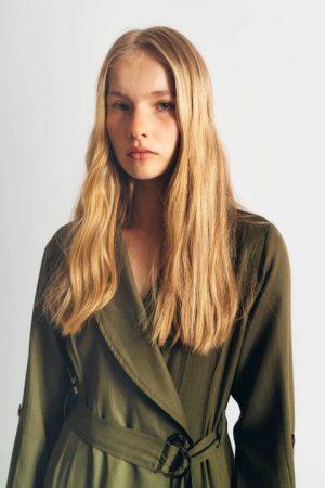 שמלת דאבל - ירוק זית 001