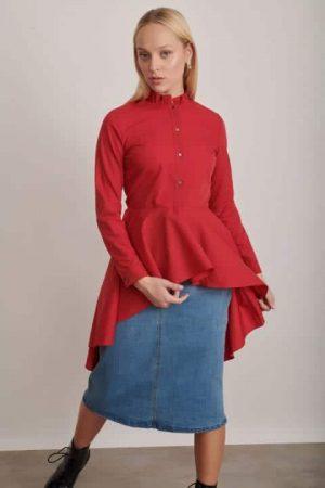 שמלת חולצה אדומה 1222 003 (Small)