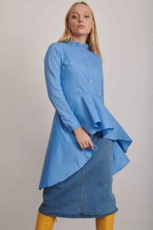 שמלת חולצה תכלת 1121 005 (Small)