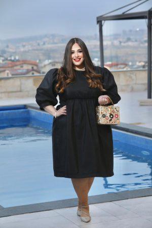 שמלת טפט - שחור (מידות גדולות)