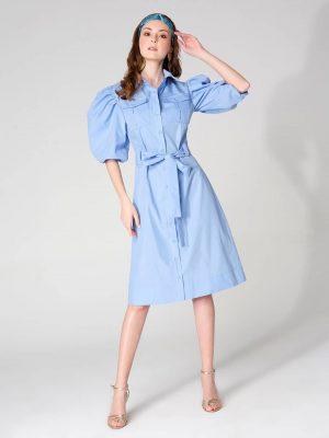 שמלת כיסים - תכלת 001