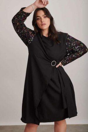 שמלת מעטפת עם שרוול פייטים 1309