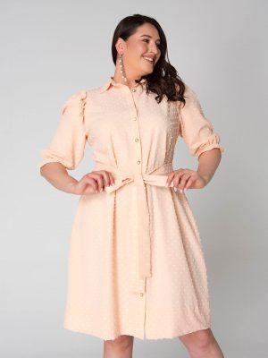 שמלת פפלום בכתף - אפרסק 001