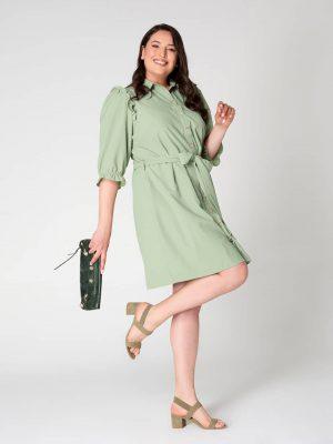 שמלת פפלום בכתף - ירוק 001