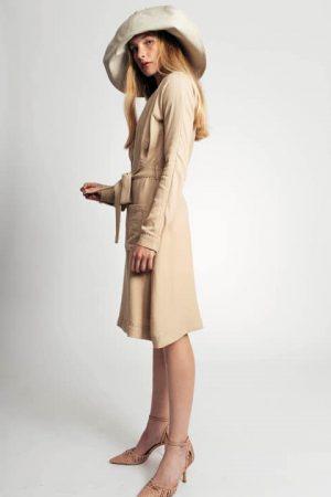 שמלת פשתן כיסים - בז' 001