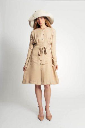 שמלת פשתן כיסים - בז' 008