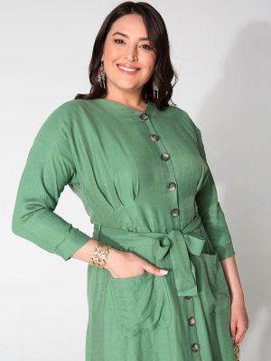 שמלת פשתן כיסים ירוק 001