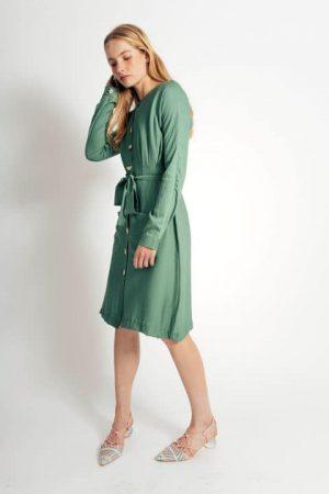 שמלת פשתן כיסים - ירוק 009
