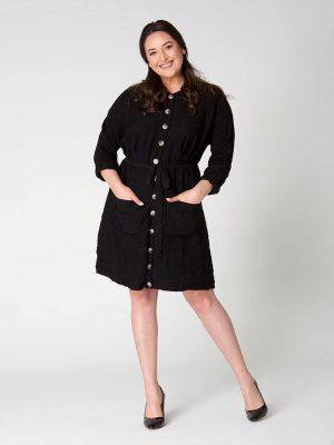 שמלת פשתן כיסים - שחור 001