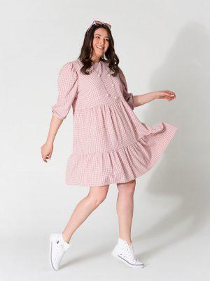 שמלת קומות משובץ ורוד 001