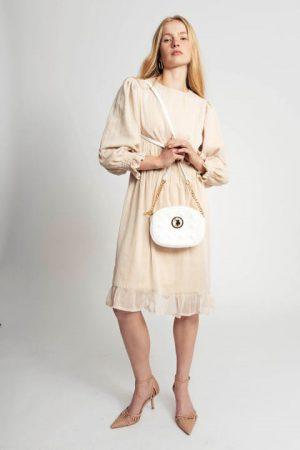 שמלת שיפון בז' מוזהב 001